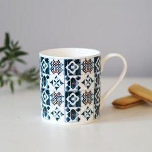 Grace and Favour Marisol Blue with Orange Mug