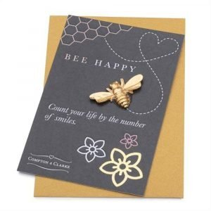 Compton and Clarke - Pewter Bee Pocket charm- Bee Happy