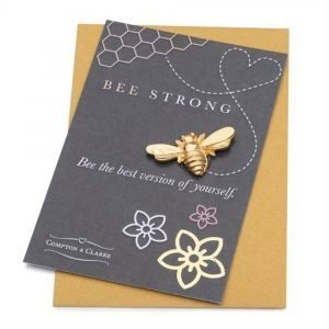 Compton and Clarke - Pewter Bee Pocket charm- Bee Strong