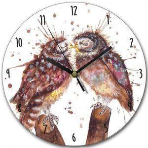 Clock - Splatter Loved up Owls by Katherine Williams
