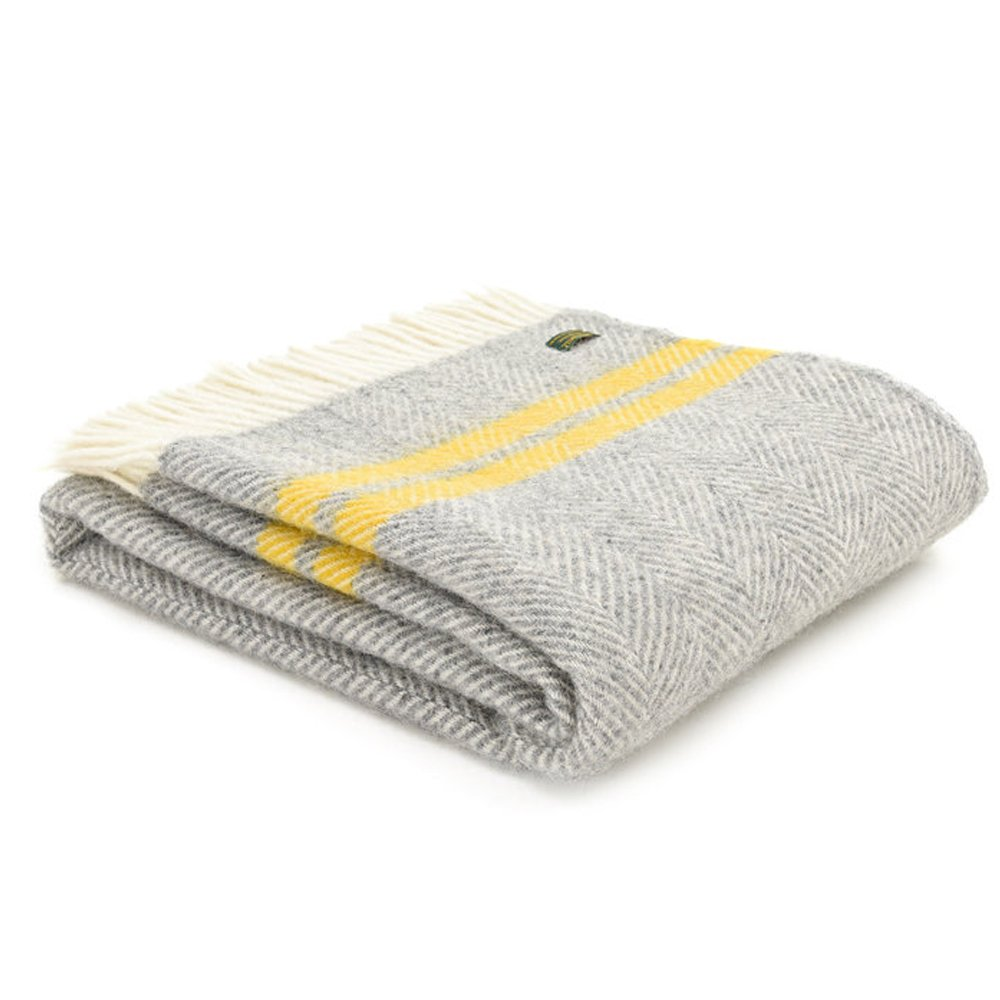 Tweedmill Pure New Wool Fishbone 2 Stripe Large Throw - Various Colours