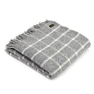 Tweedmill Lifestyle Large Throw in Pure New Wool - Grey Check